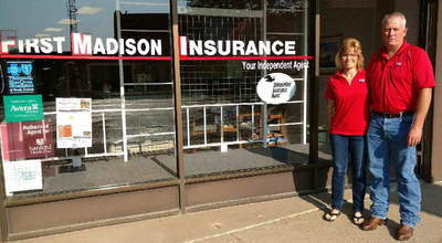 Greg Fender sells many types of insurance at First Madison Insurance, Madison, South Dakota